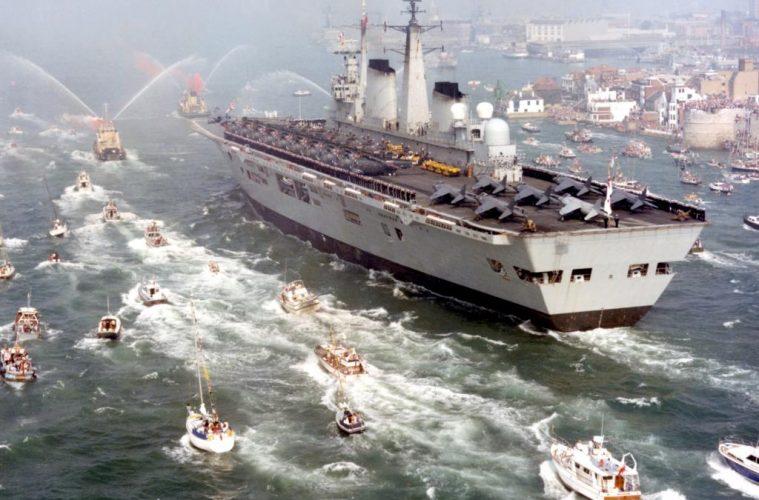 HMS Invincible Returns From Falklands War