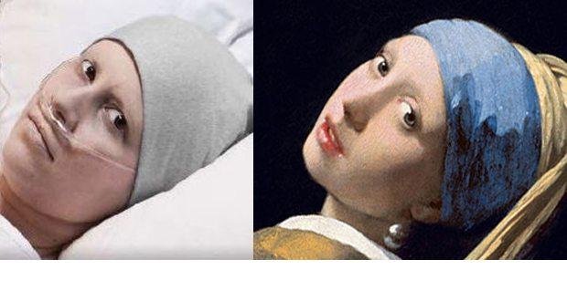 Φωτογραφία καρκινοπαθούς με αναφορά στο έργο του Γιοχάνες Βερμέερ Κορίτσι με το μαργαριταρένιο σκουλαρίκι. Λάδι σε μoυσαμά