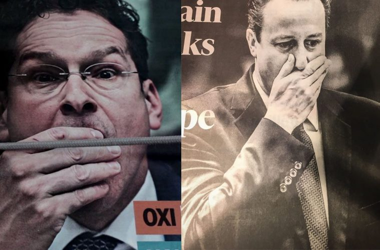 Left: Dijsselbloem after the Greek referendum. Right: Cameron after the Brexit referendum