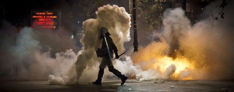 riot police athens tear gas