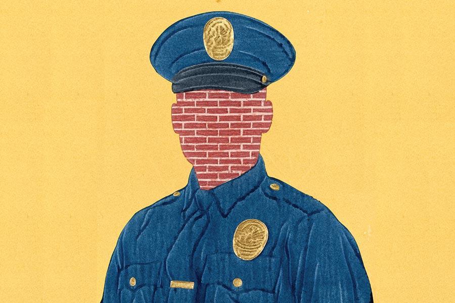 αστυνομίκούς μπλέ τείχος σιωπής